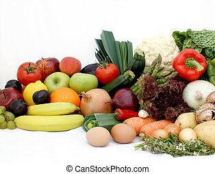Fruit and vegetables - Large display of various fruit and...