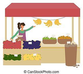 Fruit and Vegetables, Seller on Marketplace Vector - Woman ...