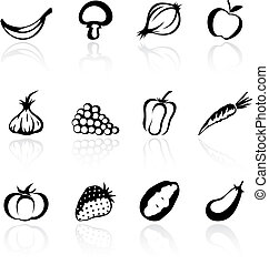 silhouette icons of various fruit and vegetables, vector illustration
