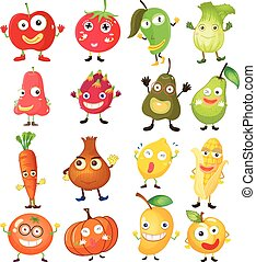 Fruit and vegetables with face