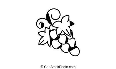 fruit, animation, icône, raisin