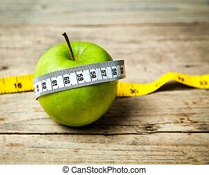fruit. Apple and centimeter. Healthy eating