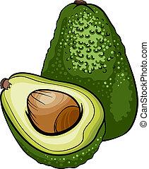 fruit, avocado, spotprent, illustratie