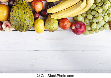 fruit background with exotic fruits on white background,...