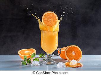 Fruit background with oranges and orange juice