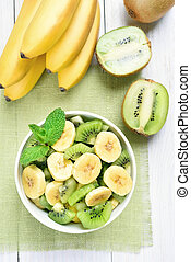 Fruit banana kiwi salad