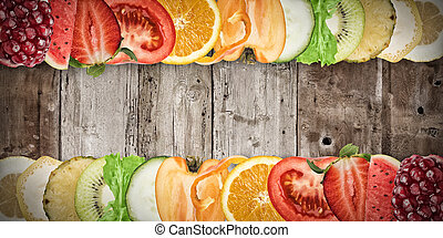 Fruit banner on wood background - Colourful fruit banner on...
