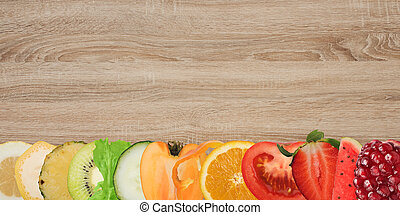 Fruit banner on wood background