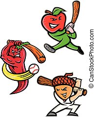 Fruit Baseball Sports Mascot Collection