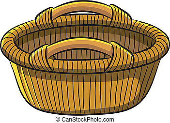 cartoon illustration of fruit basket