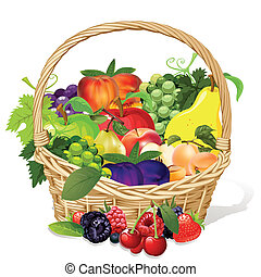 fruit basket - fruit grape peach pear apple plum raspberry...