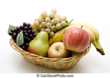 Fruit basket - Grapes, apples, pear, and banana in the...