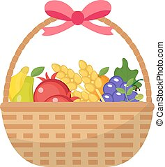 Fruit Basket icon, flat, cartoon style. Jewish holiday Shavuot, food concept. Pomegranate, grapes, wheat, olives. Isolated on white background. Vector illustration, clip-art.