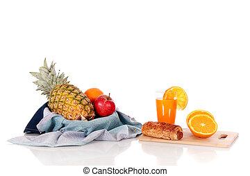 Fruit basket juice bread roll