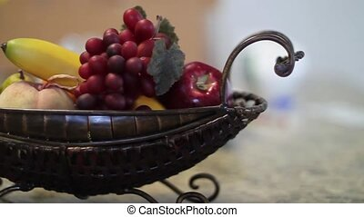 fruit basket on tabletop