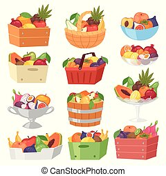 Fruit basket vector fruity apple banana and exotic papaya in...