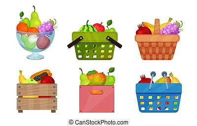 Fruit Basket Wealth Vector Illustrated Set On White Background.