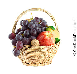 Fruit basket with mixed fruit on white background