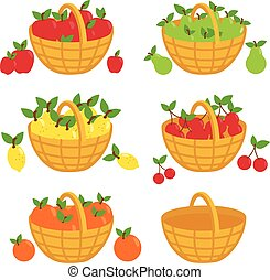 Fruit baskets collection. Vector illustration - Vector ...