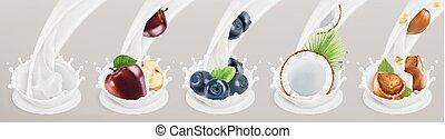 Fruit, berries and yogurt. Realistic illustration. 3d vector icon set 5