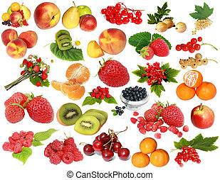 Fruit-berry collection - Various fruit and berries isolated...
