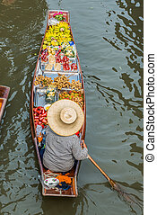 fruit boat Amphawa bangkok floating market Thailand - fruit ...
