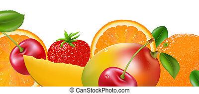 Fruit Border, Isolated On White Background, Vector...