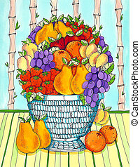 Fruit Bowl - A fruit bowl with pears, oranges, grapes and ...