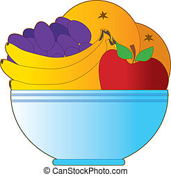 Fruit Bowl - Blue bowl filled with oranges apples bananas an...