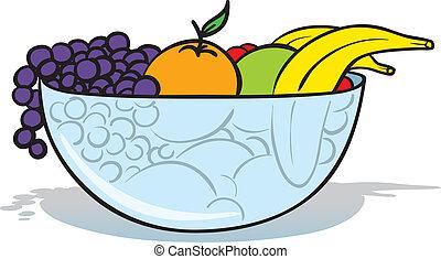 fruit bowl - vector illustration of a glass bowl full of...