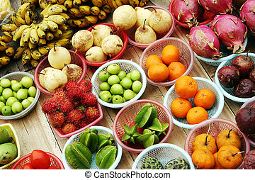 Bowls of tropical fruit from Vietnam - travel and tourism.