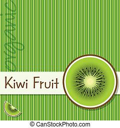 Fruit - Bright organic kiwi fruit card in vector format.