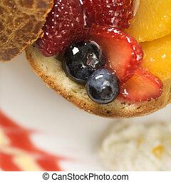 Fruit brioche. - Close up of fresh fruit stuffed brioche.