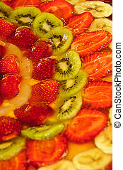 Fruit cake - A cake with bananas, strawberries, kiwis and ...