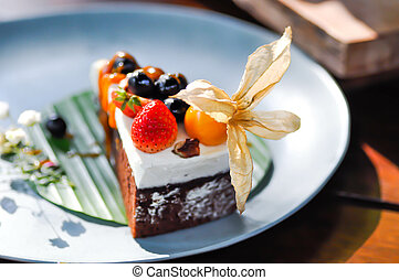 chocolate cake with fruit topping