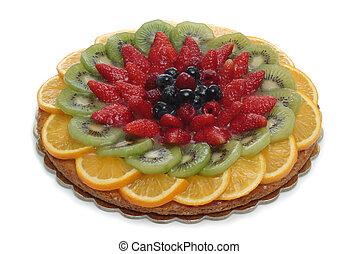 fruit cake - isolated on white