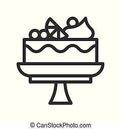fruit cake on stand, sweets and dessert outline icon