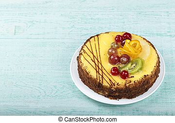 fruit cake on the table