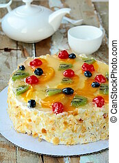 fruit cake with berries