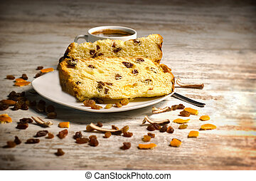 Fruit cake with raisins and candied fruit