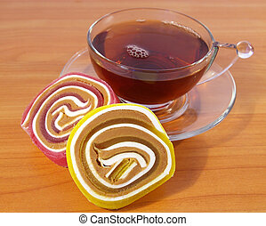 Fruit candy and black tea