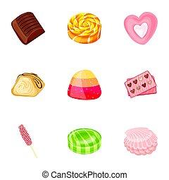 Fruit candy icon set, cartoon style