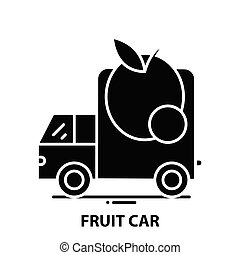 fruit car icon, black vector sign with editable strokes, concept illustration