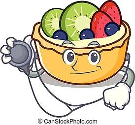 fruit, caractère, dessin animé, docteur, tarte