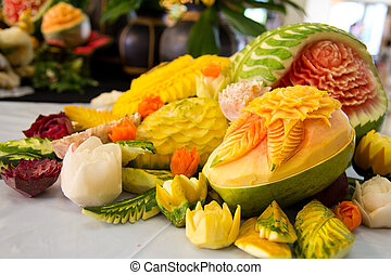 Fruit carving - An assortment of fresh carved mix fruits