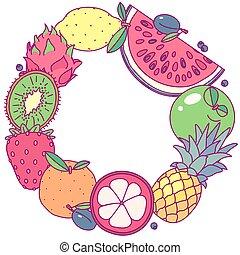 fruit, cercle, attachez art, vecteur