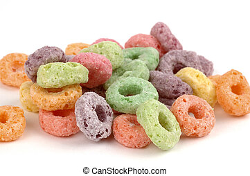 Fruit Cereal - Colorful sugary fruit flavored cereal circle...