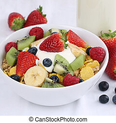 Fruit cereals with yogurt and strawberries