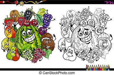 fruit characters coloring page