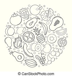 Fruit circle background from line icon. Linear vector pattern.